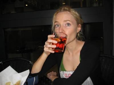 Drinking Campari.
